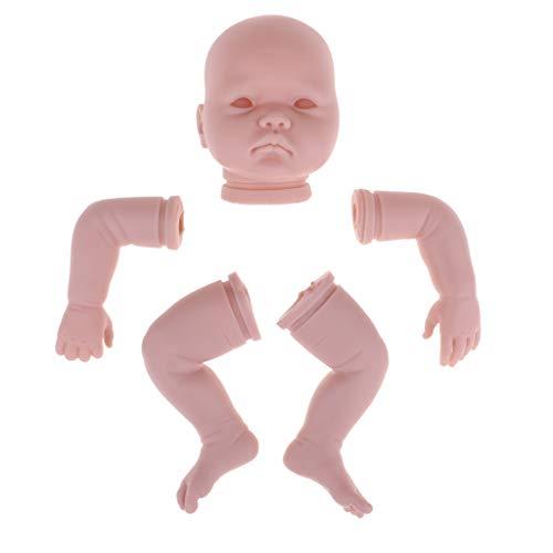 perfeclan DIY Unlackiert Babypuppe Baby Puppen Körperteile Puppenkopf, 3/4 Arme und Volle Beine Modell Set - 22 Zoll
