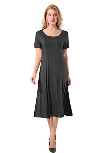 Hownew-X Short Sleeve Dresses Women Shirt Dresses U Collar Summer Casual Elegant Dress L Black