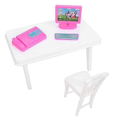 Kinder-computer-schreibtisch (Bicaquu Mini Computer Tastatur Faxgerät Schreibtisch Stuhl für Puppenhaus Kind Mädchen Spielzeug Geschenk Set)