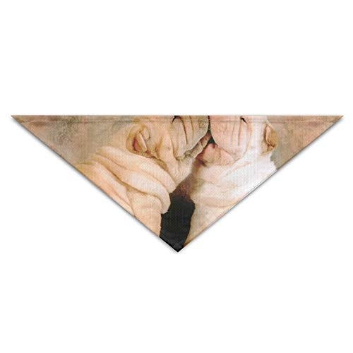 Shar Pei Kostüm - nxnx Haustier-Hundebandana-Schal-Dreieck-Schellfisch-Shar-pei Hundekuss-Drucken-Halstuch, Geburtstags-Zusätze für Katzen u. Haustiere