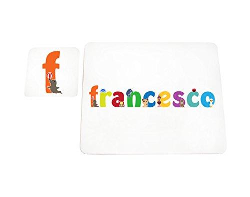 Little helper lhv-francesco-coasterandplacemat-15it sottobicchieri e tovagliette con finitura lucida, personalizzati ragazzi nome francesco, multicolore, 21 x 30 x 2 cm