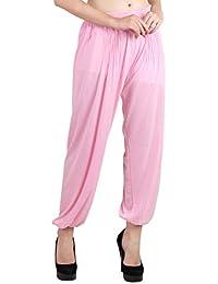 Jollify Solid Cotton Lycra Baby Pink Harem Pants