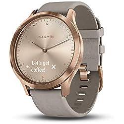 Garmin Vivomove HR Premium Hybrid Smartwatch Rose Gold with Grey Suede Band 010-01850-09