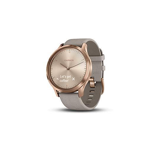Garmin Vivomove HR Premium Hybrid Smartwatch Rose Gold with Grey Suede Band 010-01850-09