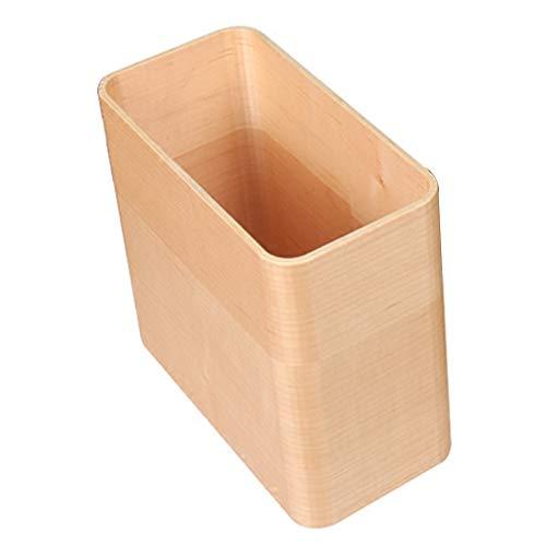 YANZHEN Mülleimer No Cover No Print Magazin Aufbewahrungseimer Feuchtigkeitsfest Papierkorb Rechteck Einfach Holz, 10 Liter (Farbe : Beige, größe : 26.5x13x20cm)