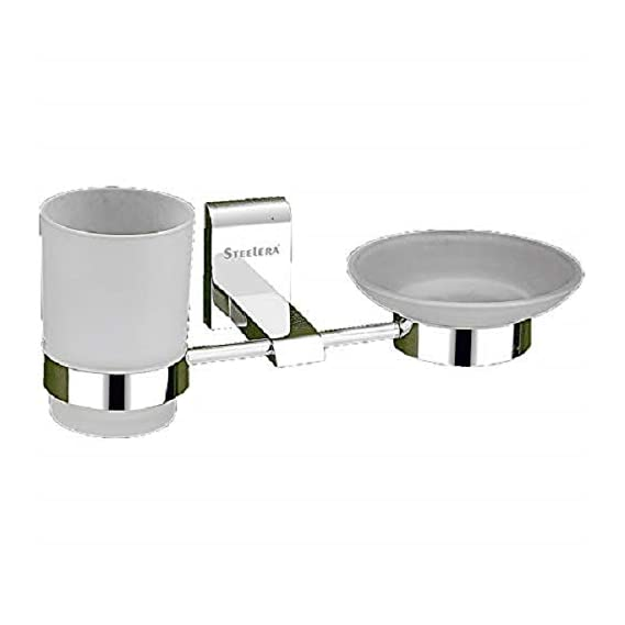 Aryan Soap Dish with Glass Tumbler Holder Or Soap Case with Toothbrush Stand for Bathroom and Wash Basin (High Grade 304 Stainless Steel)