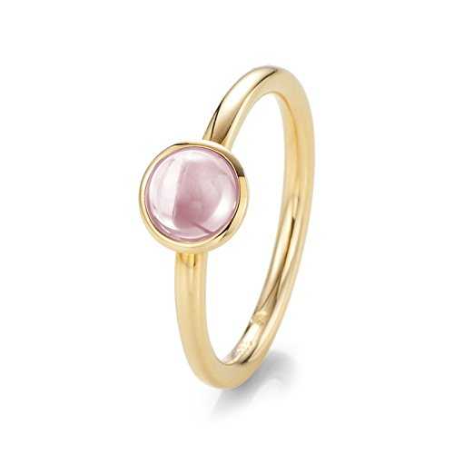 21Diamonds Damen-Ring Jade Verlobungsring Rosenquarz Cabochonschliff, 14 Karat (585) Gelbgold Gr.60 (19.1) Verlobungsringe (Jade Verlobungsringe)