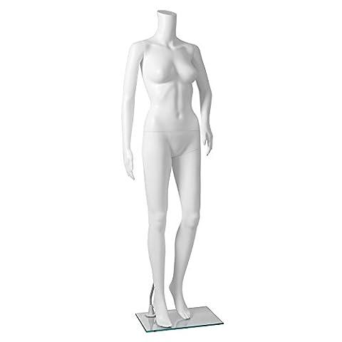 Songmics Mannequin de Vitrine Femme sans tête manipulable avec Piédestal Couleur blanche MPLM21