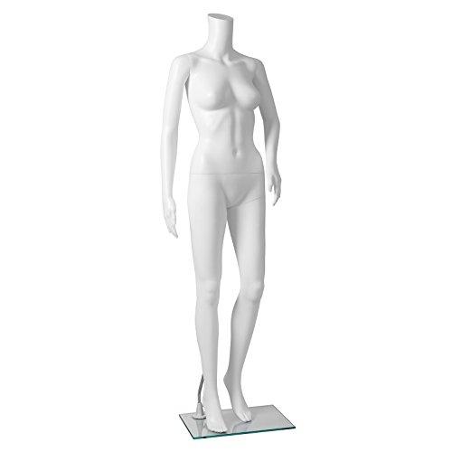 Songmics weibliche Schaufensterpuppe Schaufensterfigur weiß Mannequin ohne Kopf aus PE-Plastik MPLM21