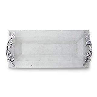 Arthur Court Glass Oblong Cheese Serving Tray Olive Handle Pattern