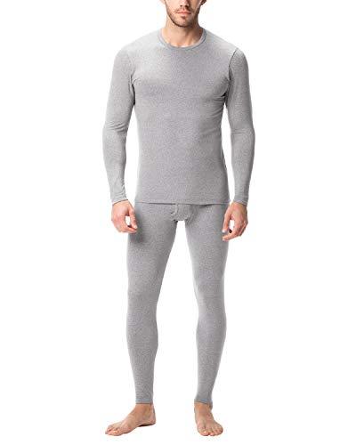 Lapasa uomo set intimo termico - ti tiene al caldo senza stress- t-shirt maniche lunghe & pantaloni invernali m11 (m(torace 96-102/ vita 81-86 cm), grigio chiaro)