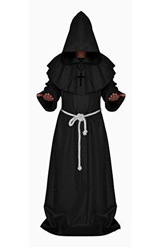 Manfis Kirchen Kostüm - Mönch Kostüm Kutte mit Kapuze der Renaissance Herren Schwarz S