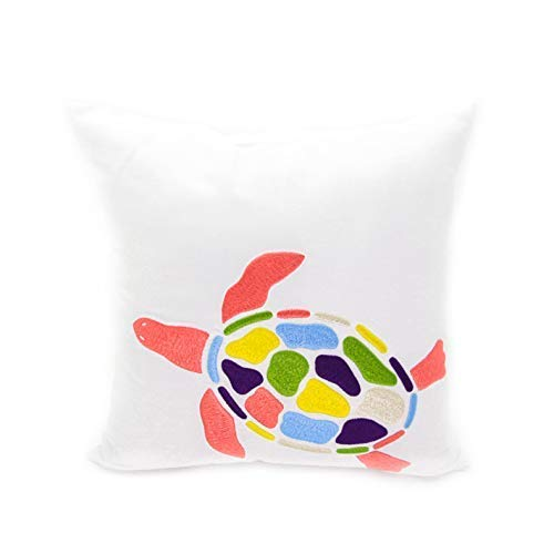 Sea Turtle Beach Cottage Nautisches Kissenbezug, Baumwolle, weiß Leinen Kissen Schutzhülle Colorful Sea Turtle Stickerei, Textil, White, Orange Blue, Green, Yellow, 18 inch x 18 inch
