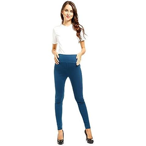 CLE DE TOUS - Ajustable Pantalones de Lactancia y Premamá Ropa de Embarazada (Apto para 75-90kg) para Mujer Talla XL Color Azul