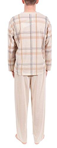 Herrenschlafanzug, Pyjama, lang,100% Baumwolle, M L XL XXL XXXL Beige