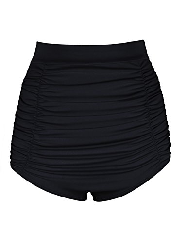 Firpearl Damen Retro 50er Gefaltete Hohe Taille Bikini Hose Badeanzug Short  Schwarz