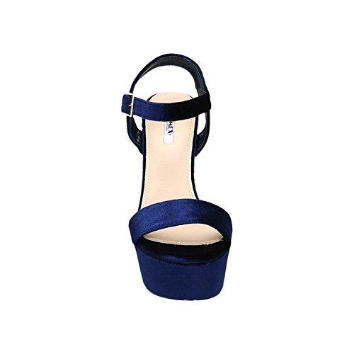 Velours Bombas Saltos Sandálias Cetim Senhoras Tiras Peep Partido Slingbacks Altos Sapatos Azuis 51 De Confortável G7 De Toes Noite XzXxC0wq