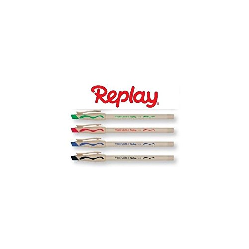 5 penne papermate replay new cancellabile nero rosso blu e verde