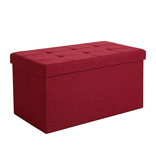 SONGMICS Sitzbank mit Stauraum, Truhe mit Deckel, faltbares Sitzmöbel, Bett, Schlafzimmer, Flur, platzsparend, 80L Fassungsvermögen, stabil bis 300 kg, gepolstert, rot LSF47RD