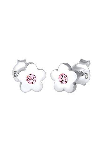 Elli Kinder Echtschmuck Ohrringe Ohrstecker Mädchen Blumen mit Swarovski Kristall in Sterling Silber 925 silber