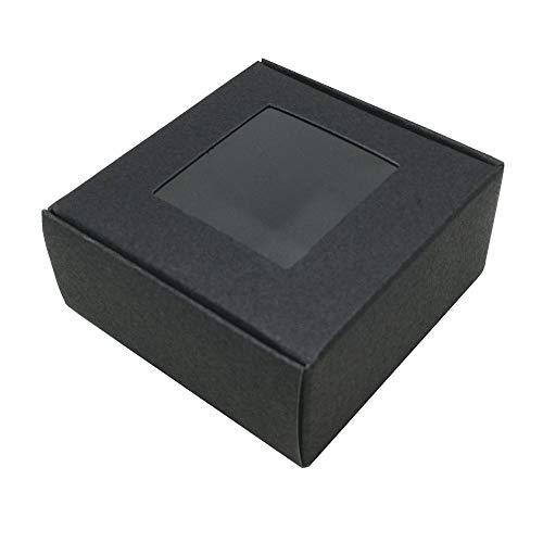 ck Kraftpapier Verpackung Box Papier Hochzeit Gunsten Süßigkeiten Cookies Kleines Geschenk Kasten Karton Fall DIY Handwerk Aufbewahrungsboxen (Schwarz, 6.5x6.5x3cm) ()