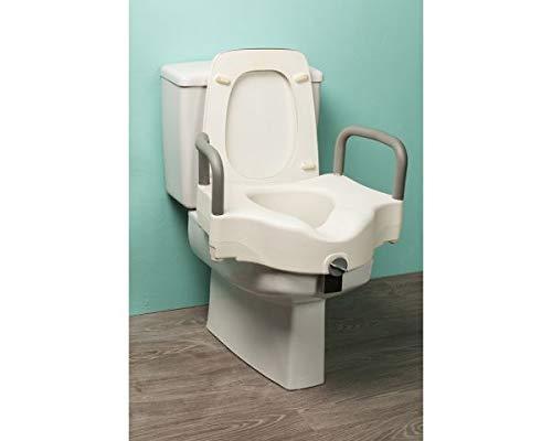 Toilettensitzerhöhung mit Absenkautomatik Toilettensitzerhöhung bequem mit Griffen Höhe 12 cm