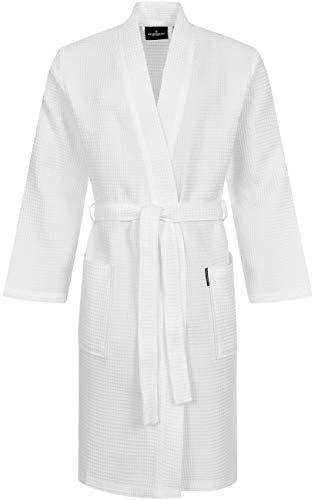 Morgenstern Waffelpique Bademantel Herren Morgenmantel Weiß leicht Männer Saunamantel Kimono Männerbademantel Biobaumwolle dünn kurz Größe XL