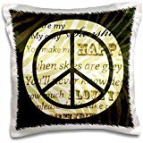 PS Vintage - Sunshine love song words peace sign with zebra print - 16x16 inch Pillow Case