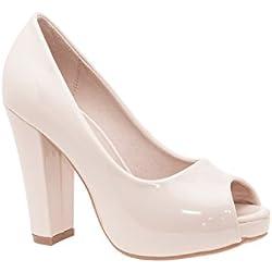 Andres Machado - Zapatos con Tacón Mujer, Color Beige, Talla 44 EU