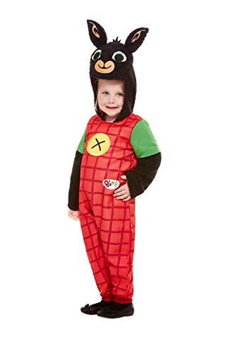 Kostüm Dress Bing Fancy - Smiffys 50183T1 Offizielles Lizenzprodukt Bing Deluxe Kostüm, Unisex, für Kinder, Rot, Kleinkinder, Alter 1-2 Jahre