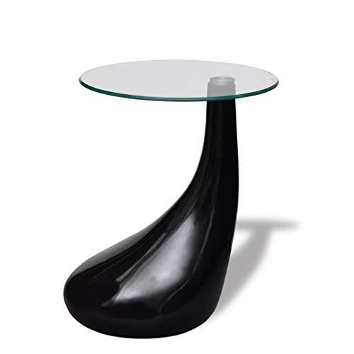 vidaXL Beistelltisch mit runder Glasplatte Beistelltisch Tisch Hochglanz Schwarz