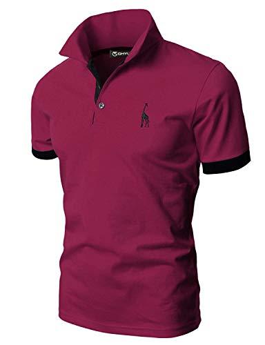 GHYUGR Polos Manga Corta Hombre Bordado de Ciervo Camisas Slim Fit Camiseta Deporte Golf Poloshirt Verano Primavera T-Shirt Oficina,Rojo Vino,L