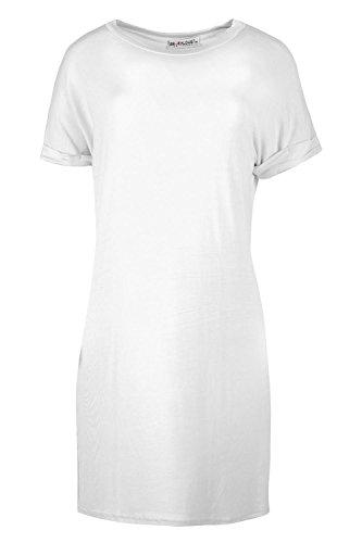 Damen Schlicht Dehnbar Aufgerollter Ärmel Beutel Locker Passung Überdimensional T-shirt Top Kleider Übergröße - Weiß, 36/38 (Lange Top Shirt Slv)