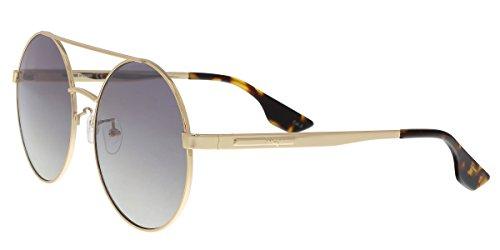 Mcq by alexander mcqueen occhiali da sole oversize rotondi doppio ponte in specchio argento oro mq0092s 002 59 gold silver mirror 59