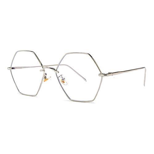 YMTP Mann Große Optische Gläser Rahmen Vintage Metallrahmen Sechseckigen Brillenfassungen Übergroßen Frauen Unisex, Silber Mit Klar