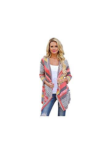 Tonsee Frauen unregelmäßige Streifen Schal Kimono Cardigan Pullover vertuschen Bluse (Asian S)