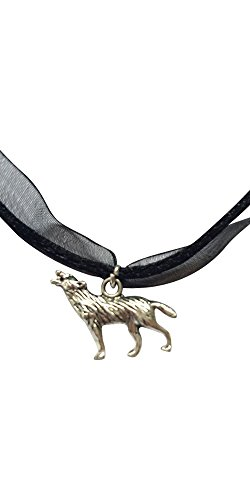 Wolf schwarz Kordel & Organza Halskette (Twilight Edward Halskette)