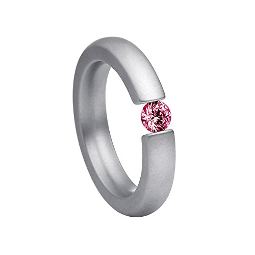 Heideman Damen-Ring alterna 4mm glanzmattiert Spannring mit Swarovski stein rubin rot 4 mm funkelt wie ein Diamant aus Edelstahl silber farbend Größe 64 (20.4)