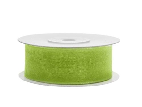 SiDeSo® 0,086€/m Chiffonband apfelgrün grün 25m x 25mm Organzaband Hochzeit Dekoband Geschenkband Antennenband Schleifenband