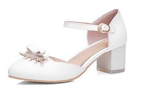 AllhqFashion Femme Rond Boucle Pu Cuir Couleur Unie à Talon Correct Chaussures Légeres Blanc