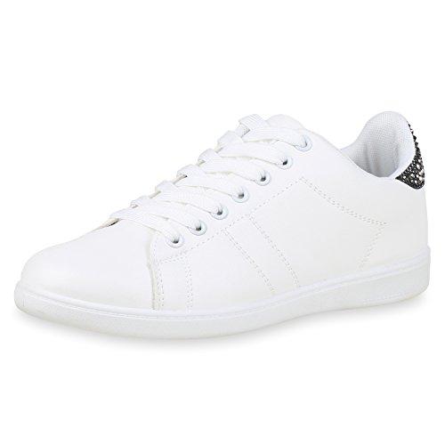 24a661705d3e1d SCARPE VITA Damen Sneaker Low Glitzer Strass Leder-Optik Freizeit Skater  Schuhe 159551 Weiss Schwarz