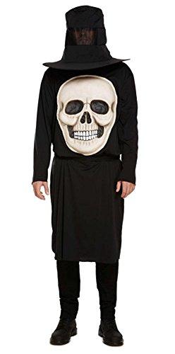 Männer Erwachsener Schädel mit Jumbo Gesicht Kostüm Halloween (Schädel Kostüme)