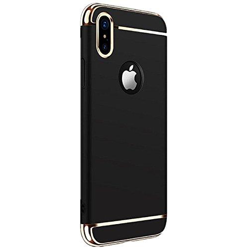 iPhone X Custodia,Cover iPhone X, Case iPhone X 3 in 1 custodia rigida ultra sottile 360 gradi Full Body Protezione Anti-Scratch Copertura Ultra sottile Shockproof Case (Oro rosa) nero