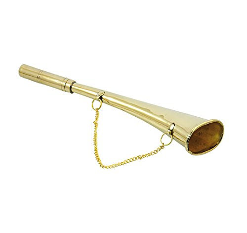 Messing Poliert Kette (Signalhorn, gebogen, 260mm, mit Kette Messing poliert)