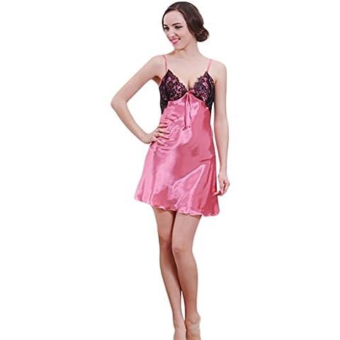 NiSeng mujer pijamas satín verano camison escotado por detrás sin mangas