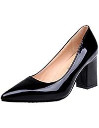 ¡Oferta de liquidación de Covermason! Zapatos de tacón cuadrado de moda para mujeres de tacón bajo Zapatos de tacón alto poco profundos(41 EU, Negro)