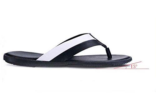Hausschuhe Thongs Flip Flops Männer Clip Toe Hausschuhe Farbübereinstimmung Rutschfest Wohnung Strand Sandalen Lässige Schuhe Eu Größe 38-44 black and white