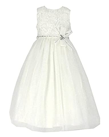 Tüll Brautjungfern Anlässe Festkleid Mädchen Creme Kleid Gr.110/116 (I2303-4#)