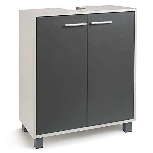 IDMarket - Meuble sous lavabo gris pour vasque de salle...