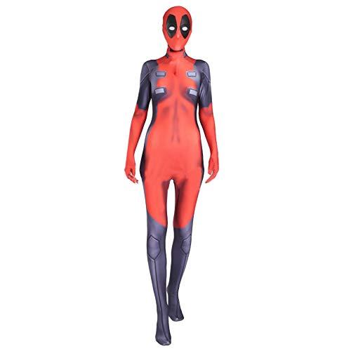 QQWE Frauen Deadpool Cosplay Kostüm Marvel Hero Rollenspiel Kleidung Kinder Erwachsene Bodysuit Spandex Jumpsuits Fancy Dress Costume,Adult-XL